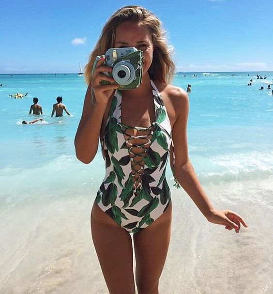 leaf one piece lacing up swimsuit