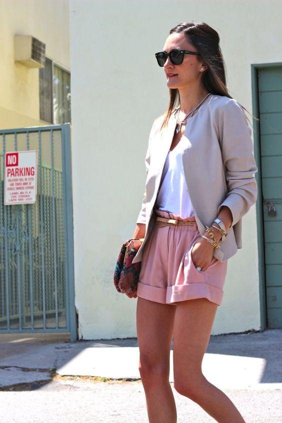 pink cuffed shorts, a white shirt, a grey blazer