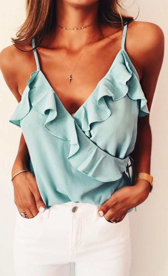 white jeans, a baby blue ruffled spaghetti top is a great and comfy idea