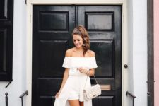 19 off the shoulder romper and maxi dress in one, spiky shoes and a clutch