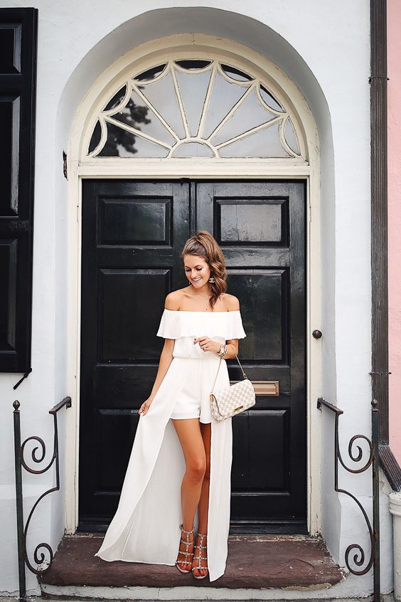 off the shoulder romper and maxi dress in one, spiky shoes and a clutch