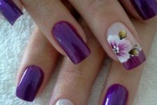 19 purple nails with large scale floral designs