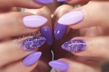 20 purple, purple glitter and blush nails look rather bold and cheery