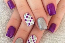 21 purple, silver glitter nails and accent polka dot purple and glitter nails