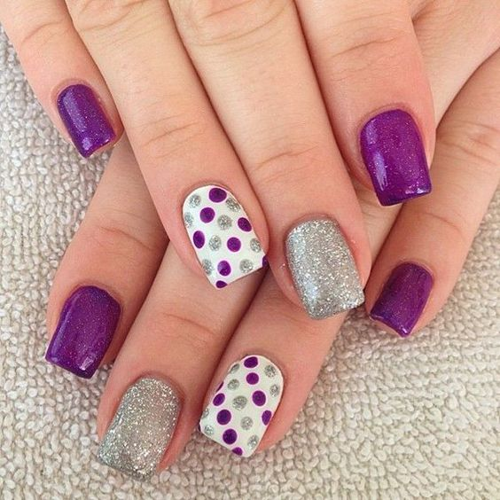 purple, silver glitter nails and accent polka dot purple and glitter nails