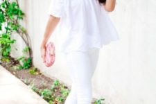 21 white jeans, an off the shoulder top, a pink clutch and neutral cutout shoes
