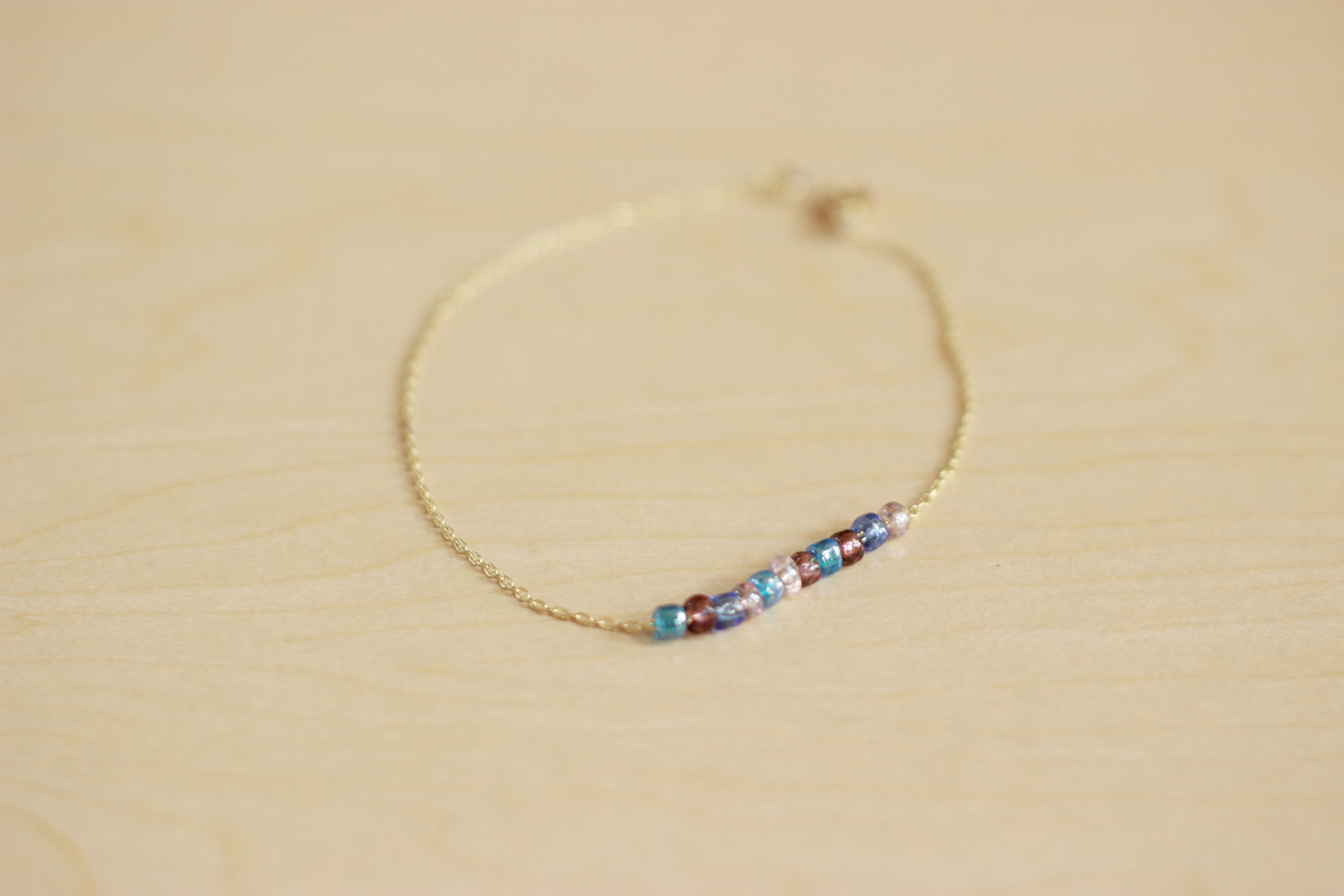 DIY delicate anklet with colored beads