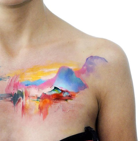 Beautiful colorful tattoo