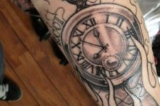Black and marsala clock on the arm