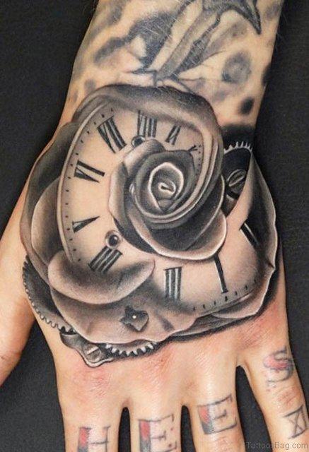 Clock as rose tattoo