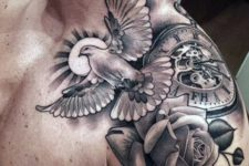 Clock with bird and rose tattoo