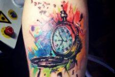 Colorful clock tattoo