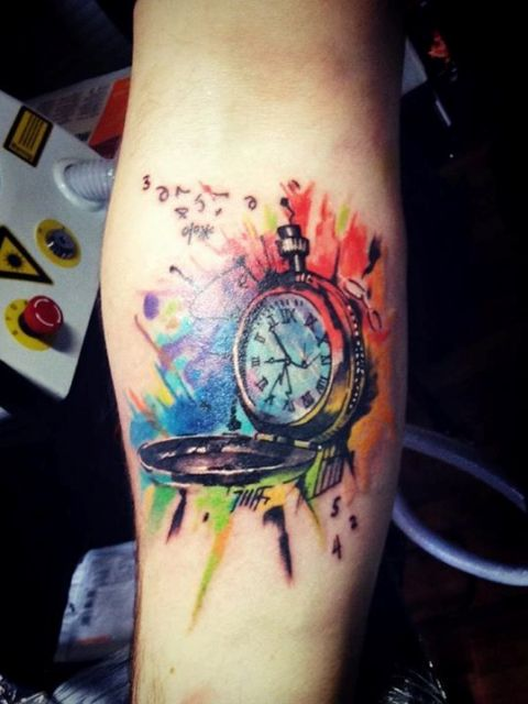 Colorful clock tattoo