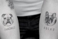 Dog tattoos on both arms
