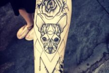 Dog with flower tattoo