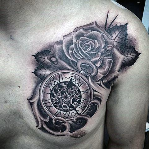 Flower and clock tattoo on the chest