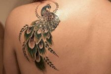 Green tattoo on the shoulder