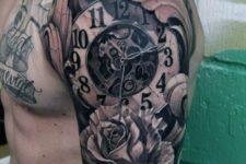 Mechanical clock tattoo
