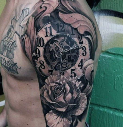 Mechanical clock tattoo