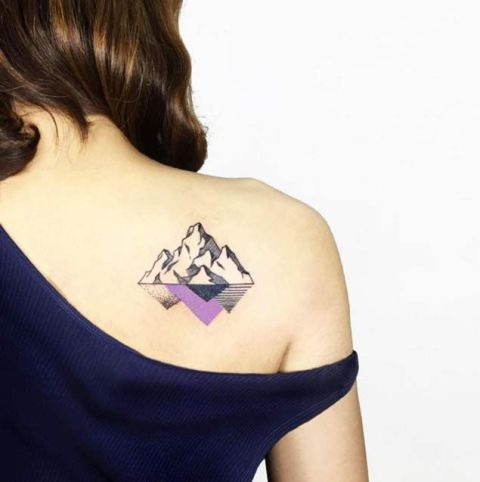 Mountain with reflection tattoo on the shoulder
