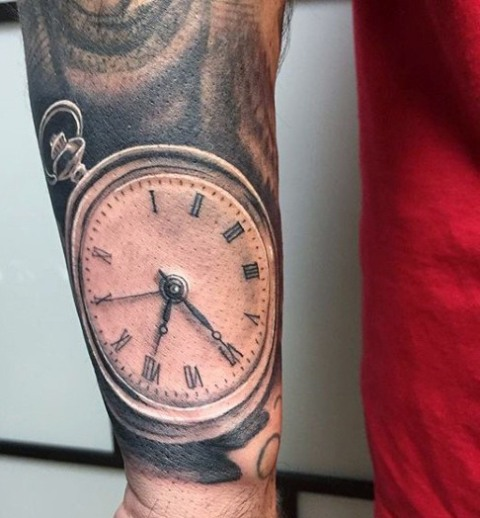 Realistic clock tattoo