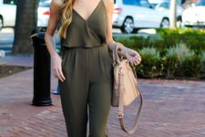 With beige bag and nude sandals