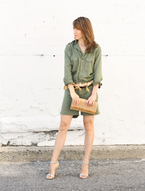 With belt, beige clutch and heels