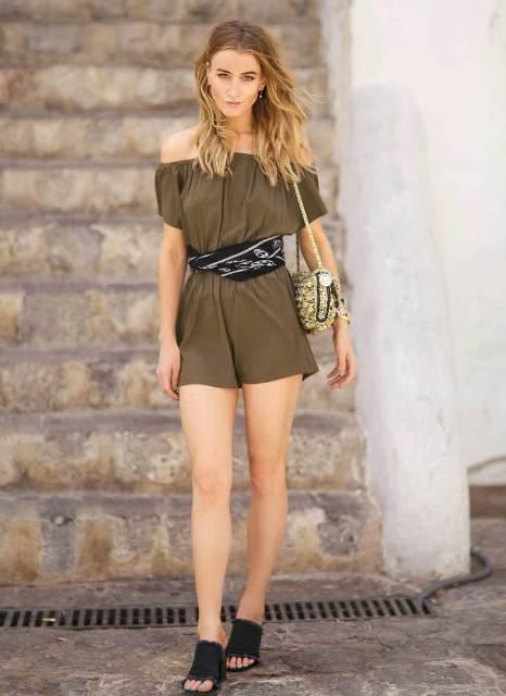 With belt, black mules and unique bag