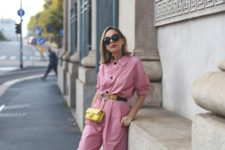 With belt, yellow mini bag and white sandals