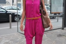 With brown belt, flat sandals and brown tote