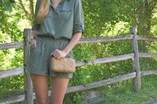 With chain strap bag and lace up sandals