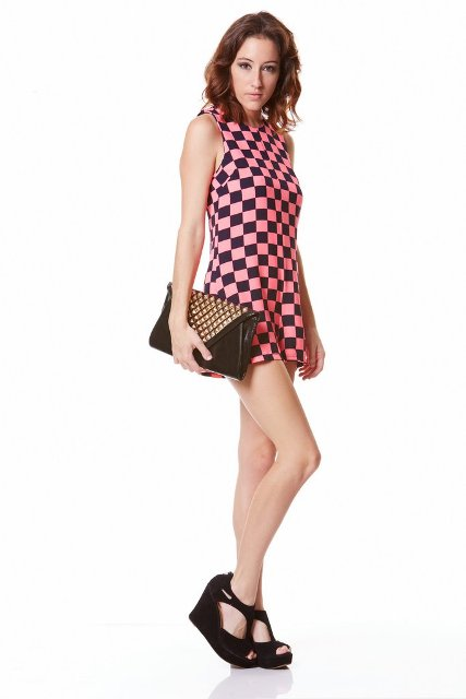 With clutch and platform sandals