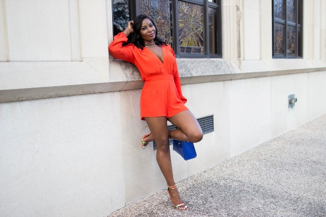 With cobalt blue bag and colorful sandals