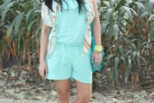 With floral blazer, nude sandals and bright color bag