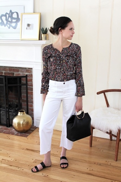 With floral blouse, crop pants and flat sandals