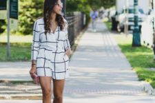 With lace up sandals and clutch