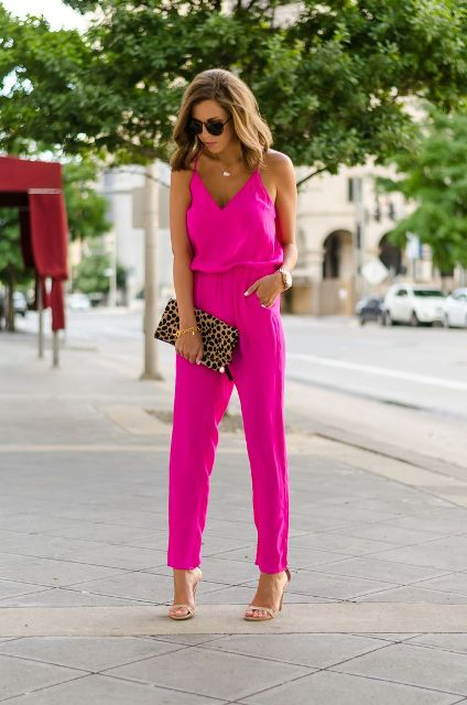 With leopard clutch and nude heels