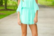 With metallic lace up sandals and headband