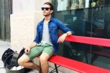 With mint green shorts, gray t-shirt and denim jacket
