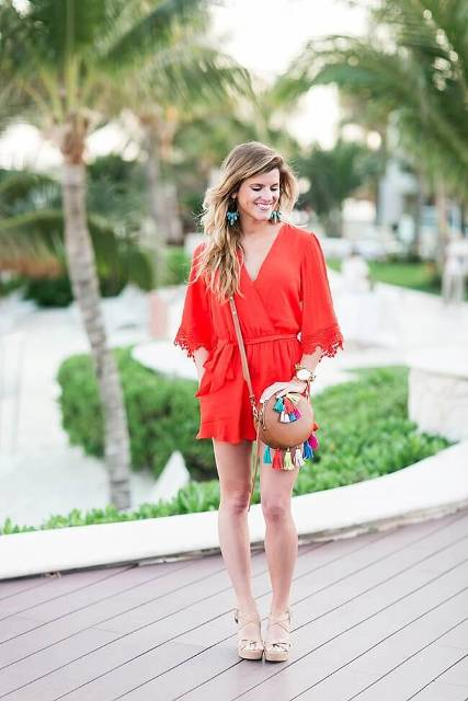 With nude sandals and tassel mini bag