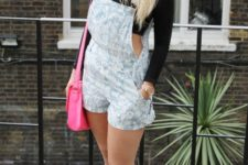 With off the shoulder crop top, printed romper and pink bag
