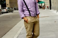 With pastel color shirt, bow tie and beige pants
