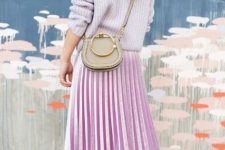 With pastel color shirt, pleated skirt and bright shoes