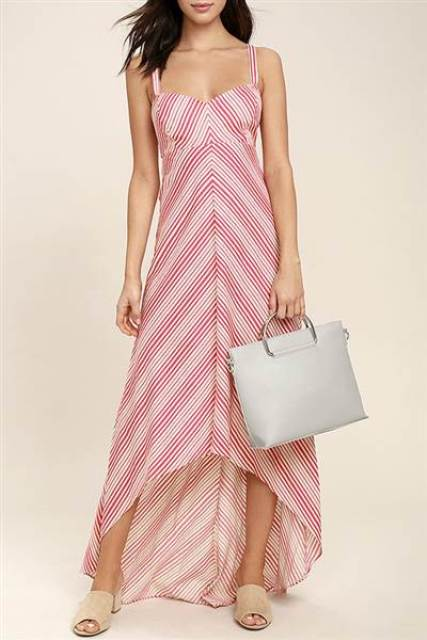 With printed dress and beige mules