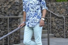 With printed shirt and mint green pants