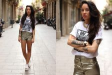 With printed t-shirt and white sandals