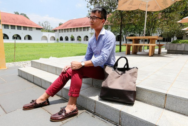 With shirt, marsala pants and tote