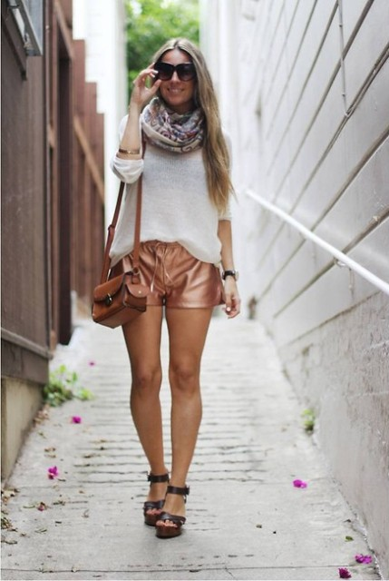 With shirt, printed scarf, brown shoes and brown small bag