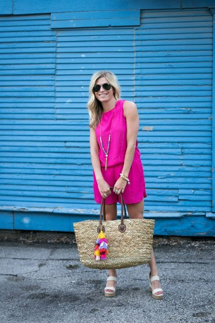 With straw big bag and white sandals