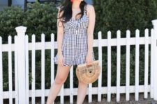 With straw hat, straw bag and neutral shoes